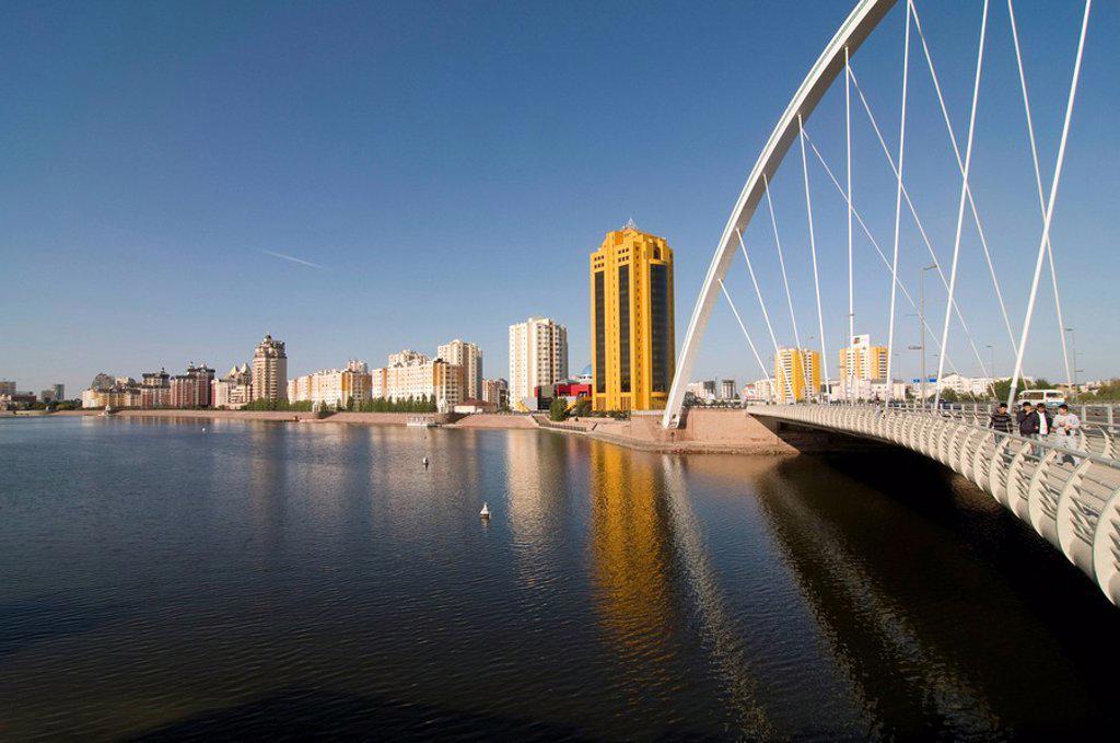Modern bridge, Astana, Kazakhstan, Central Asia : Stock Photo