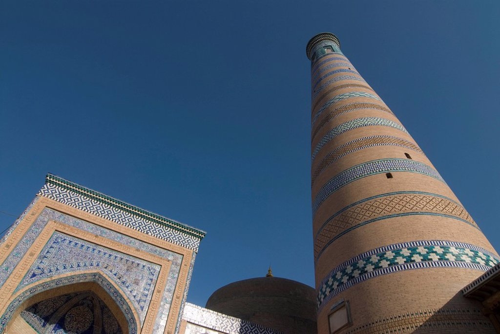 Stock Photo: 1890-104684 Islam Hoja Minaret, UNESCO World Heritage Site, Khiva, Uzbekistan, Central Asia