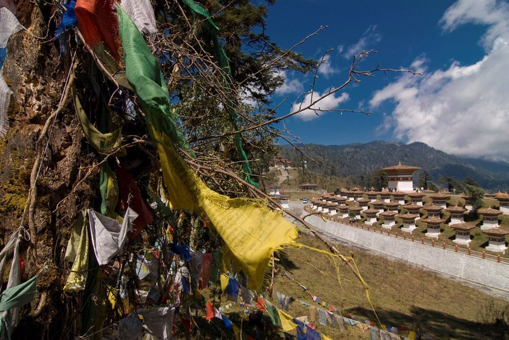 Stock Photo: 1890-104922 Prayer flags on top of the Dochu La mountain pass, Bhutan