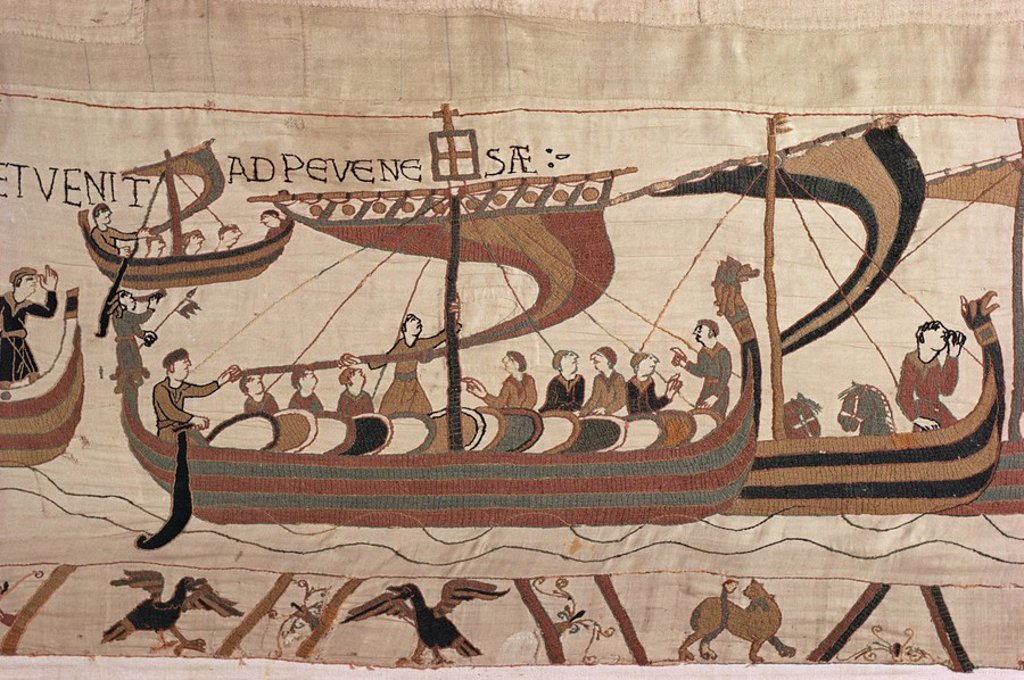 Stock Photo: 1890-10496 Invasion fleet, William steers ship with signal lantern on mast and stern, Bayeux Tapestry, Normandy, France, Europe