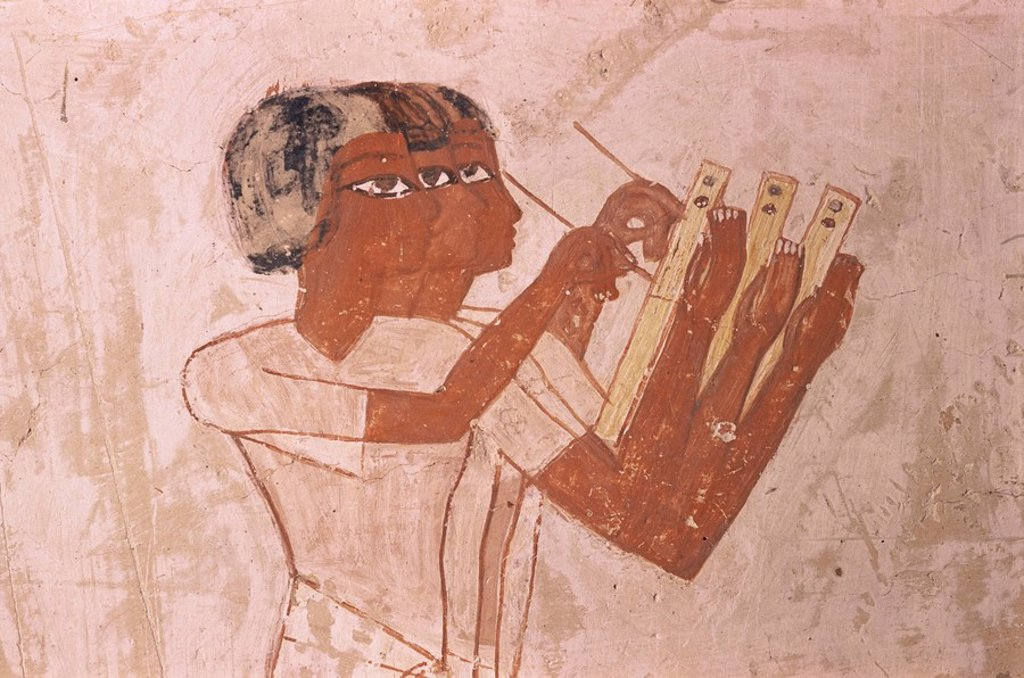 Stock Photo: 1890-10523 Scribes record crop in harvest scene, Tomb of Menna, 18th dynasty, Sheikh Abd el_Kurna, Valley of the Nobles, Thebes, UNESCO World Heritage Site, Egypt, North Africa, Africa