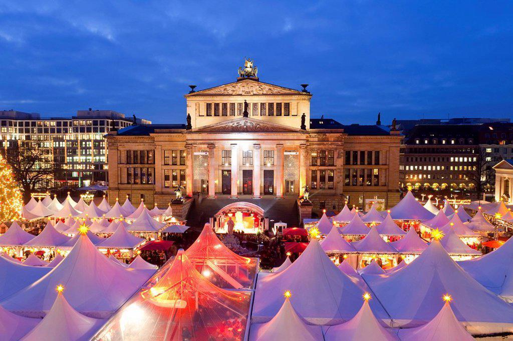 Traditional Christmas Market at Gendarmenmarkt, illuminated at dusk, Berlin, Germany, Europe : Stock Photo