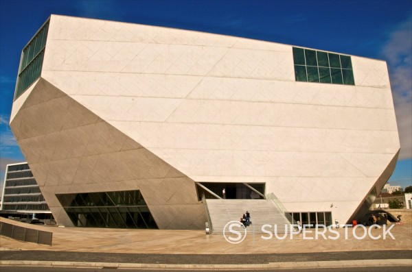 Stock Photo: 1890-105590 Exterior of the Casa da Musica concert hall, Rem Koolhaas architect, Oporto, Portugal, Europe