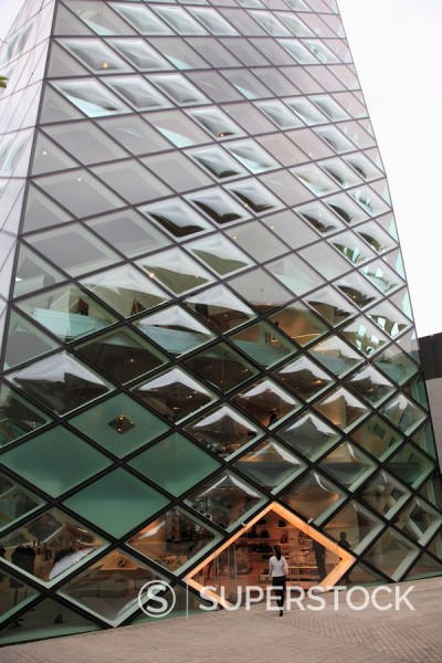 Stock Photo: 1890-105617 Prada building, designed by architects Herzog de Meuron, Aoyama, upscale fashion shopping district, Tokyo, Japan, Asia