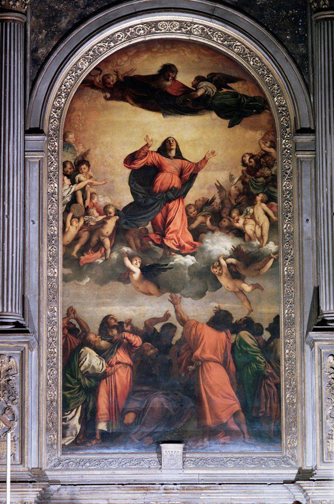 The Assumption by Titian, S. Maria dei Frari, Venice, Veneto, Italy, Europe : Stock Photo