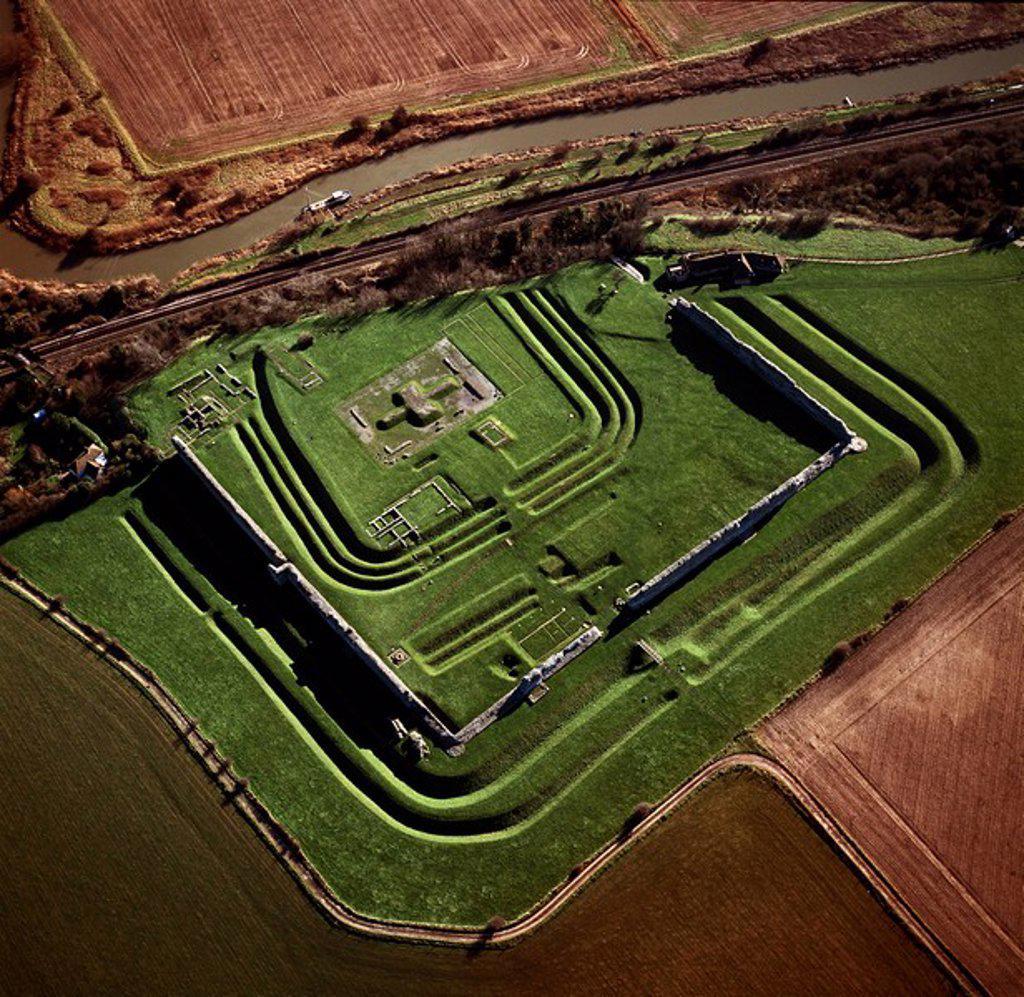 Stock Photo: 1890-105818 Aerial image of Richborough Roman fort Rutupi, Kent, England, United Kingdom, Europe