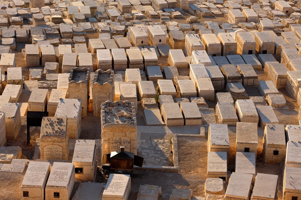 Stock Photo: 1890-105863 Mount of Olives Jewish cemetery, Jerusalem, Israel, Middle East