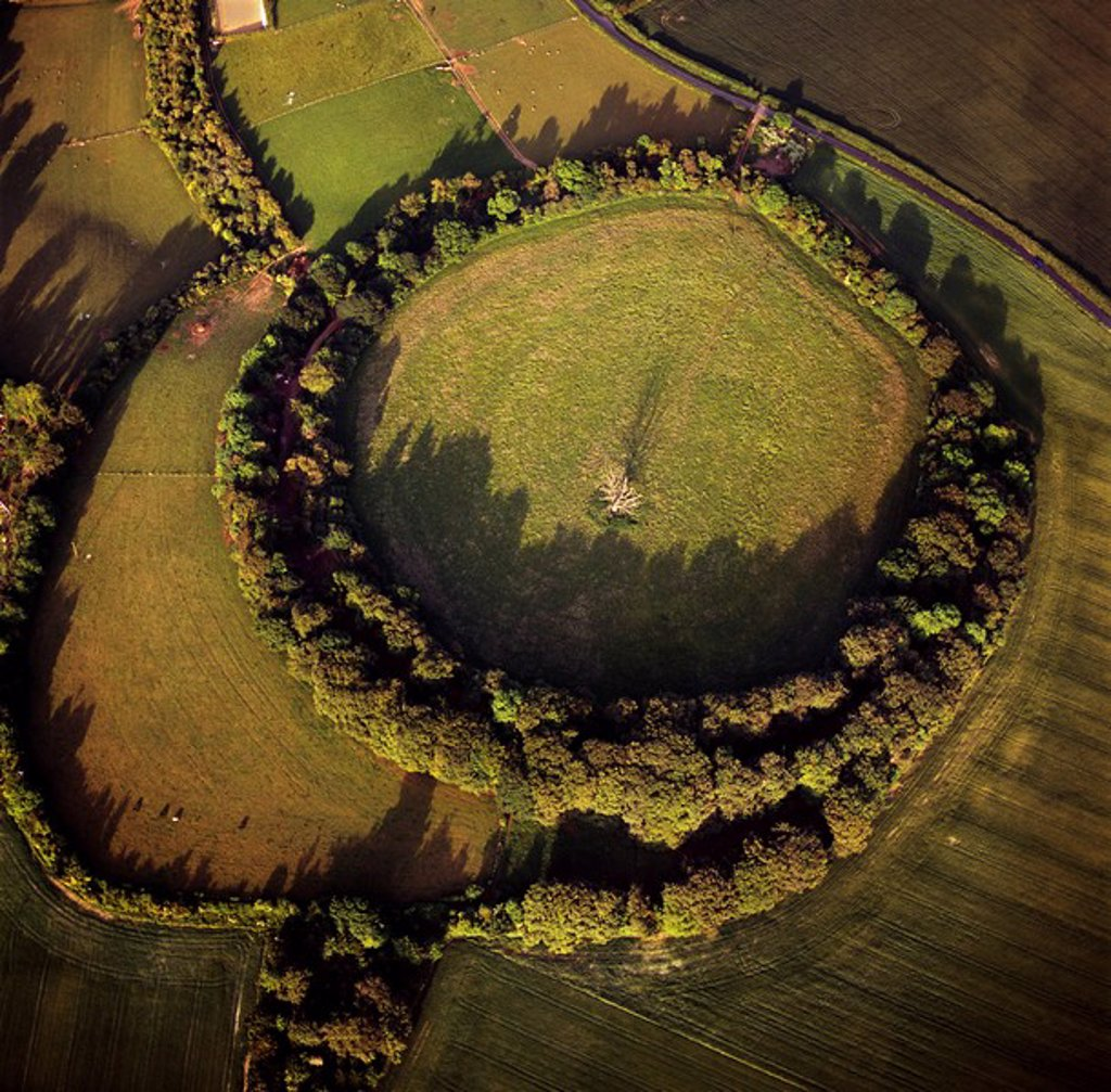 Aerial image of Bury Hill Fort, Wiltshire, England, United Kingdom, Europe : Stock Photo