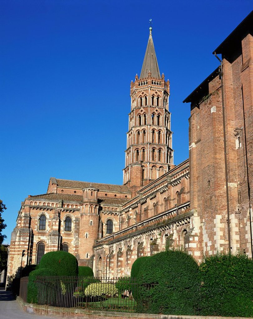 The church of St. Sernin in the town of Toulouse, in the Midi Pyrenees, France, Europe : Stock Photo