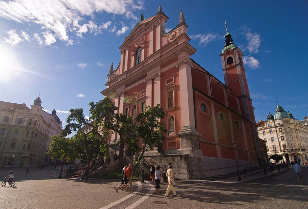 Franciscan Church of the Annunciation, Ljubljana, Slovenia, Europe : Stock Photo