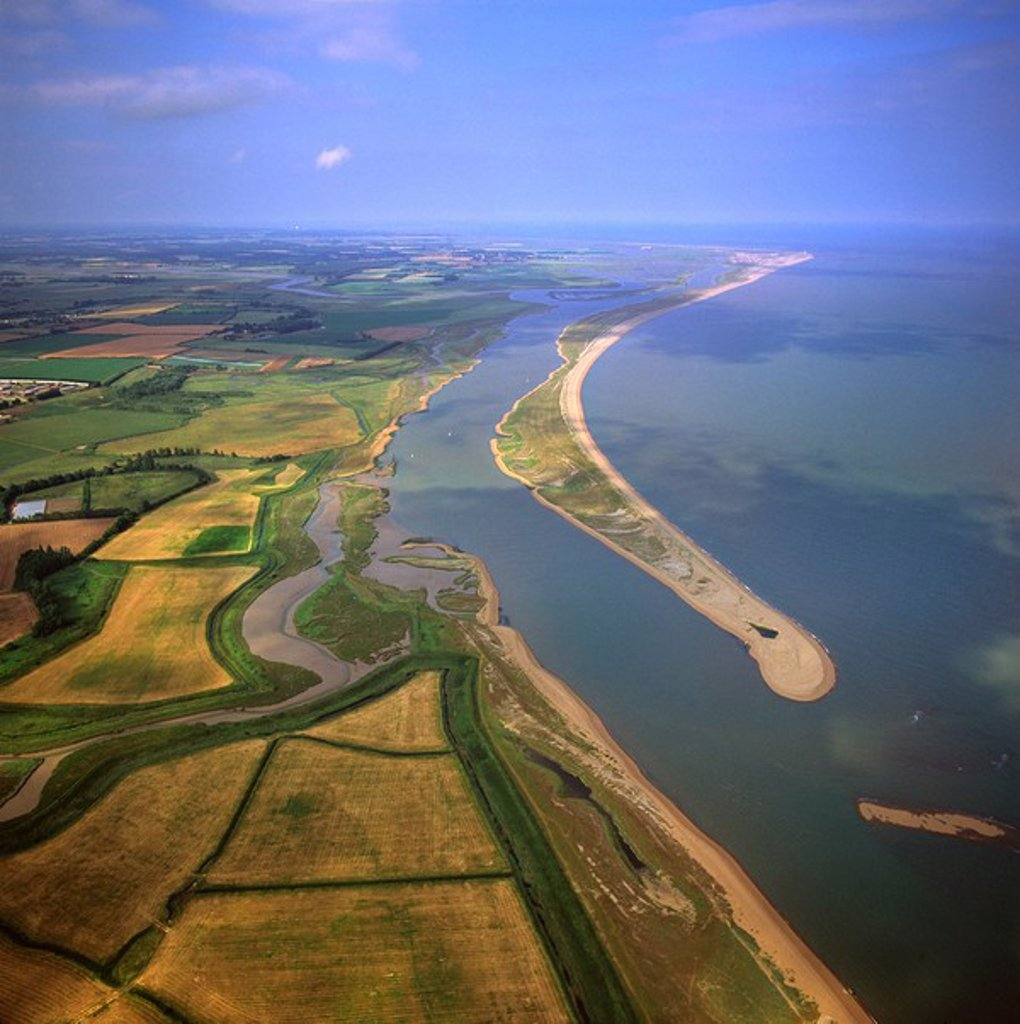 Aerial view of Orford Ness Orfordness, a cuspate foreland shingle spit, Suffolk, England, United Kingdom, Europe : Stock Photo