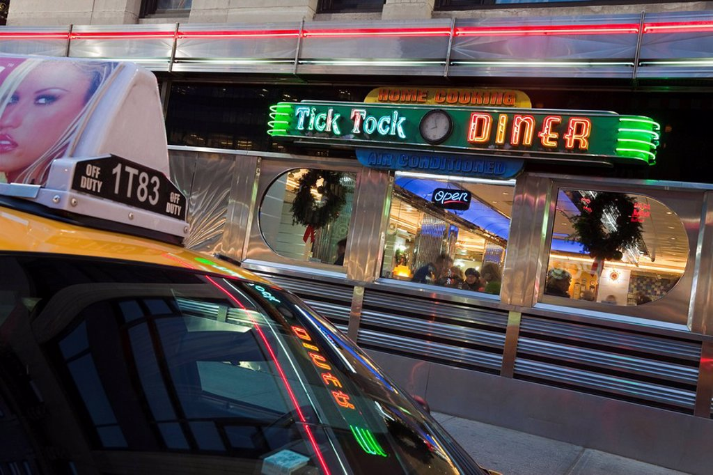 Stock Photo: 1890-106400 Diner in Midtown Manhattan, New York City, New York, United States of America, North America