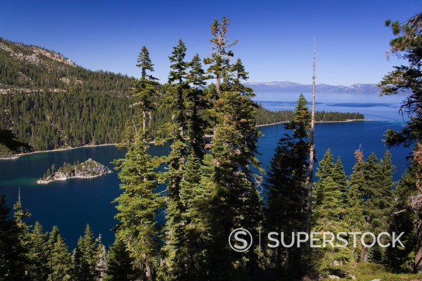 Stock Photo: 1890-106863 Fannette Island in Emerald Bay State Park, Lake Tahoe, California, United States of America, North America