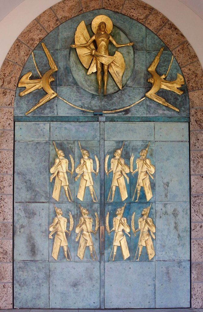 Stock Photo: 1890-106887 Ascension of Christ and the Theban soldiers by Philippe Kaeppelin on basilica door, Saint_Maurice Abbey, Saint_Maurice, Valais, Switzerland, Europe