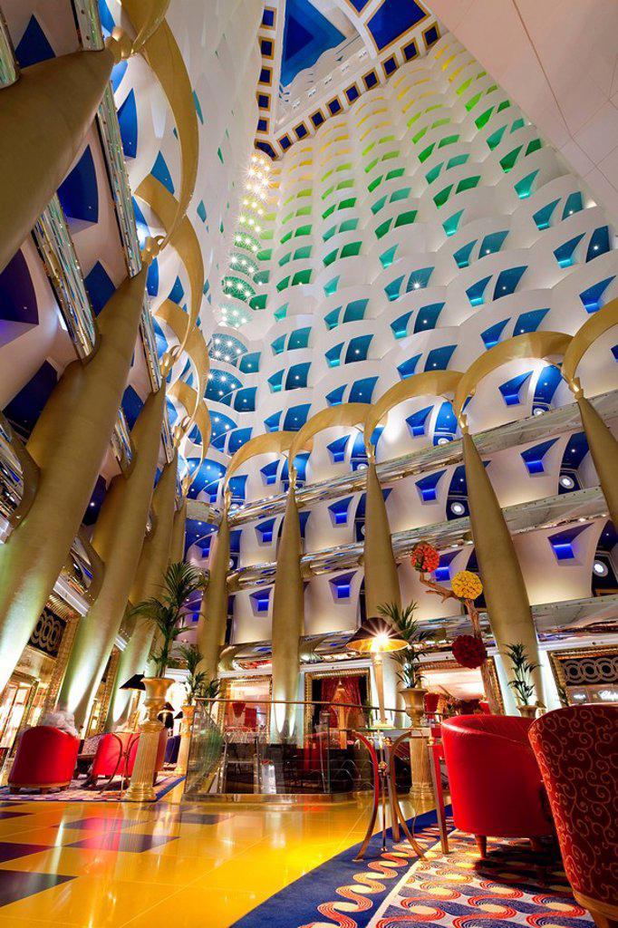 Atrium of the Burj Al Arab Hotel, Dubai, United Arab Emirates, Middle East : Stock Photo