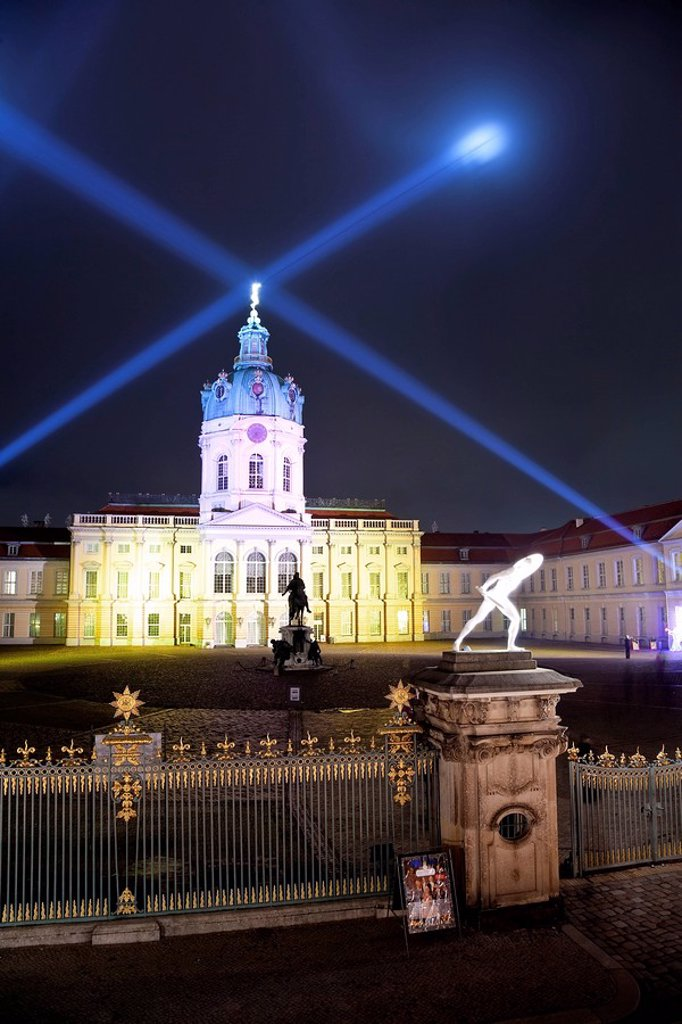 Schloss Charlottenburg Charlottenburg Castle, illuminated at night at Christmas, Charlottenburg, Berlin, Germany, Europe : Stock Photo