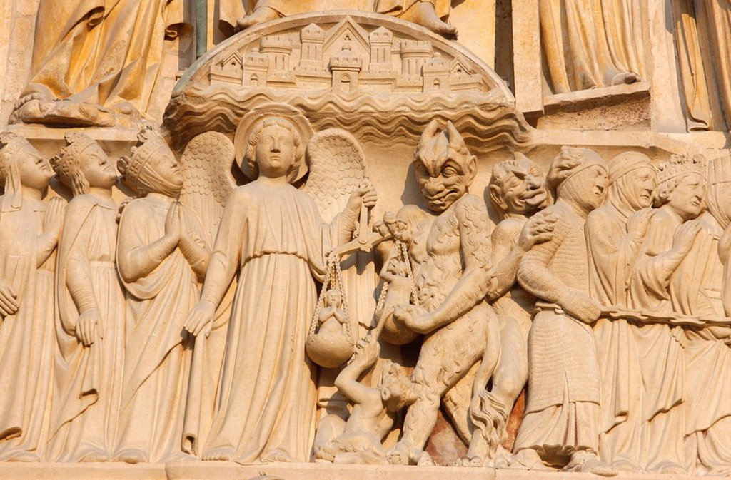 Stock Photo: 1890-107368 Last Judgment gate tympanum showing the angel St. Michael weighing souls, west front, Notre Dame Cathedral, UNESCO World Heritage Site, Paris, France, Europe