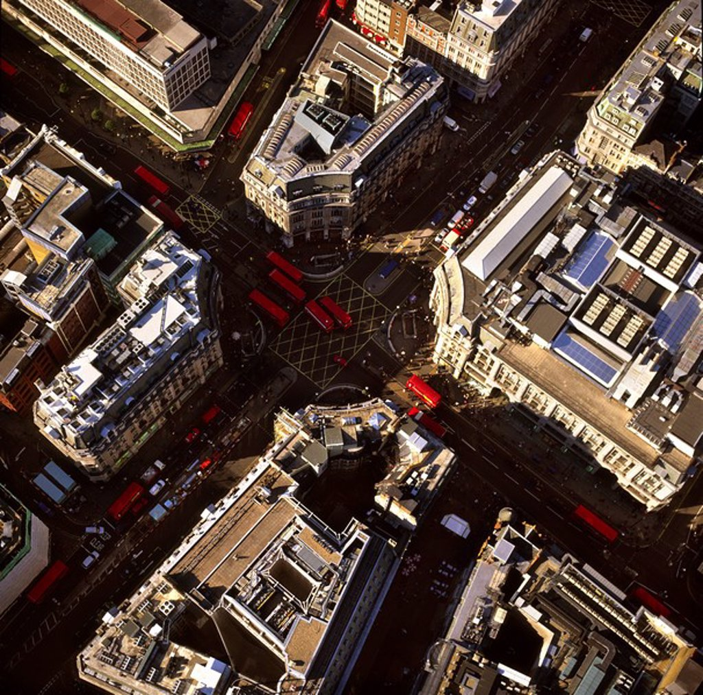 Stock Photo: 1890-107445 Aerial image of Oxford Circus, a busy intersection of Regent Street and Oxford Street, in the City of Westminster, London, England, United Kingdom, Europe