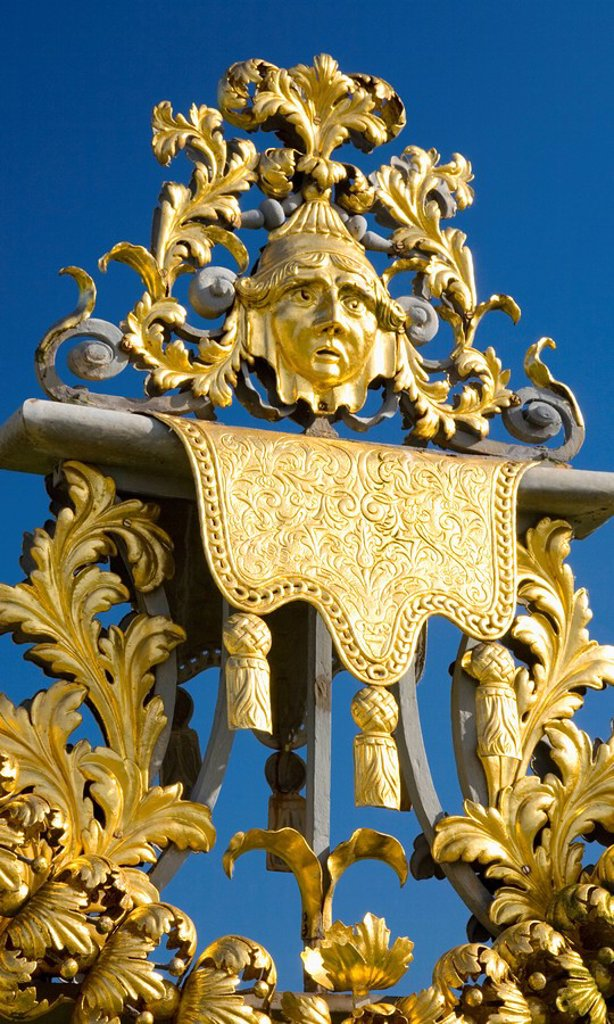 Stock Photo: 1890-107525 Detail of ornamental wrought iron gate in the Privy Garden, Hampton Court Palace, Borough of Richmond upon Thames, Greater London, England, United Kingdom, Europe