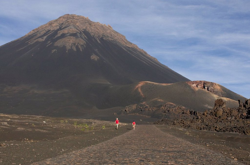 Stock Photo: 1890-107609 Path leading to volcano on Fogo, Cape Verde Islands, Africa