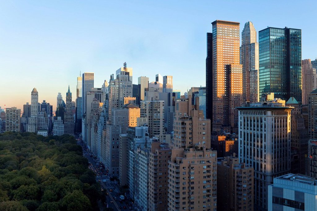 Buildings along South Central Park in Uptown Manhattan, New York City, New York, United States of America, North America : Stock Photo