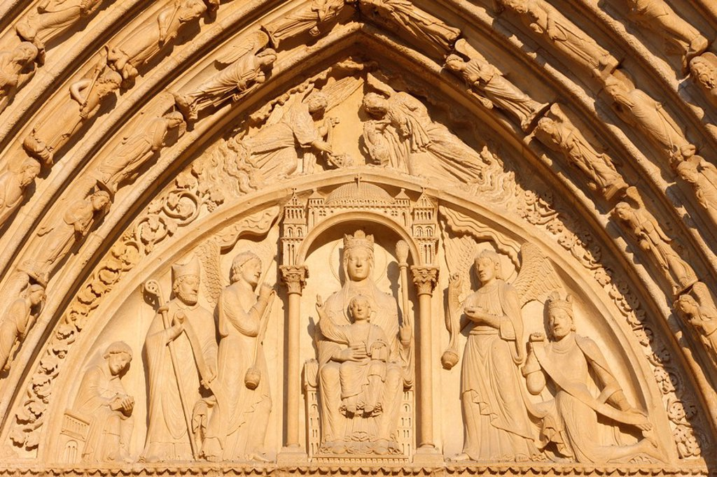 Stock Photo: 1890-107763 St. Anne´s gate tympanum, west front, Notre Dame Cathedral, UNESCO World Heritage Site, Paris, France, Europe