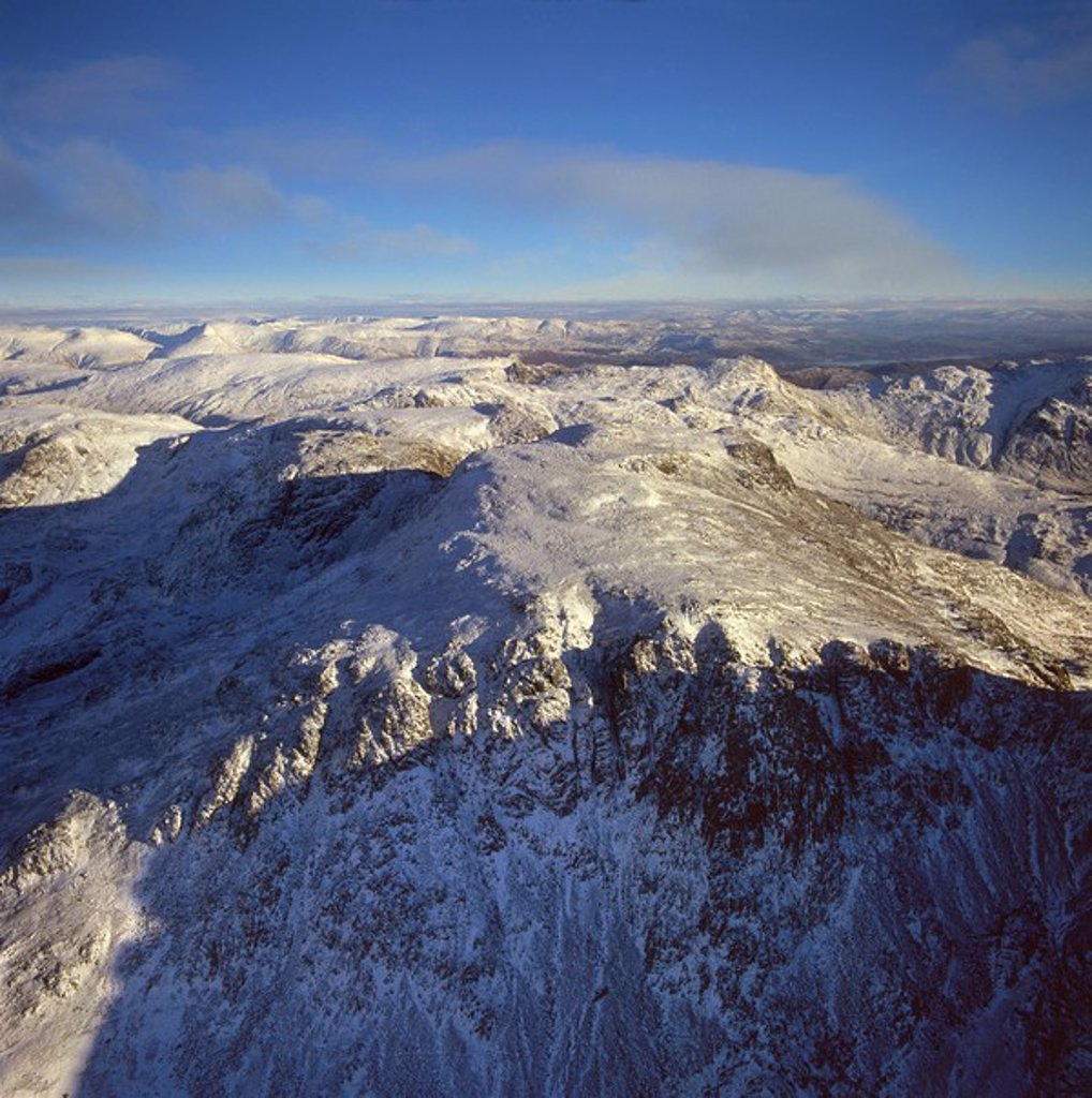 Aerial image of Scafell Pike, the highest mountain in England, Lake District National Park, Cumbria, England, United Kingdom, Europe : Stock Photo