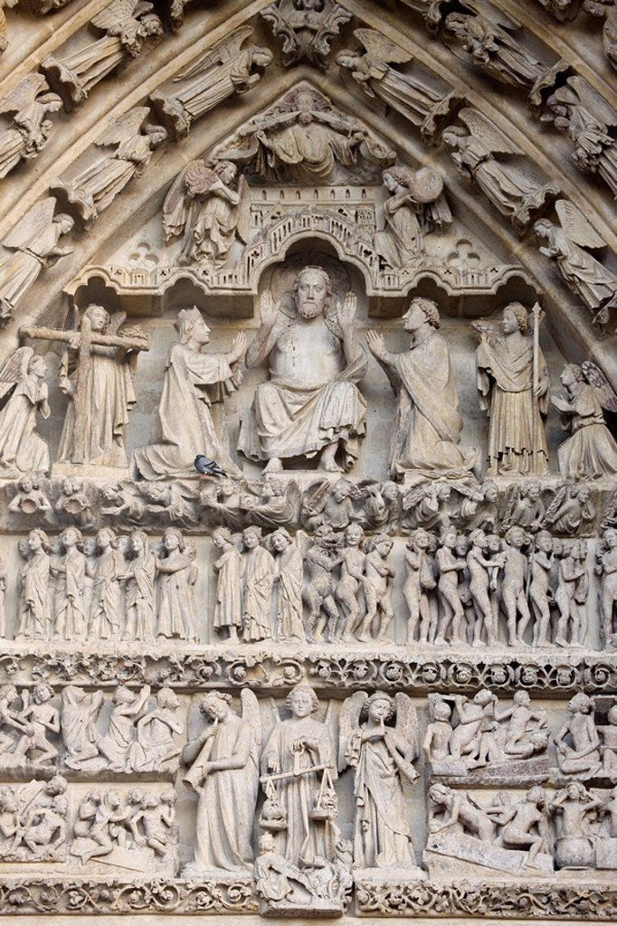 Stock Photo: 1890-108409 Last Judgment tympanum, Central Gate, Amiens Cathedral, UNESCO World Heritage Site, Amiens, Somme, France, Europe