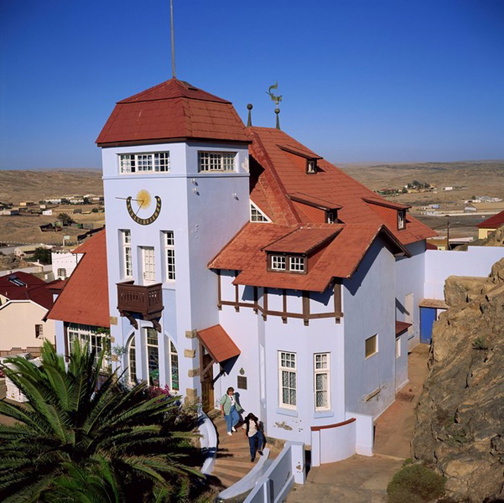 Colonial German architecture, Goerkehaus Goerke House, now owned by Consolidated Diamond Mines, Luderitz, Namibia, Africa : Stock Photo