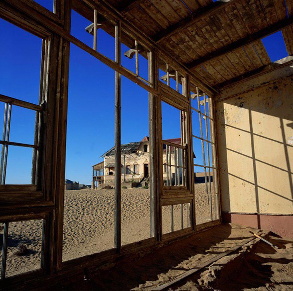 Diamond mining town reclaimed by desert and abandoned in 1956, Kolmanskop Kolmanskuppe, Namibia, Africa : Stock Photo