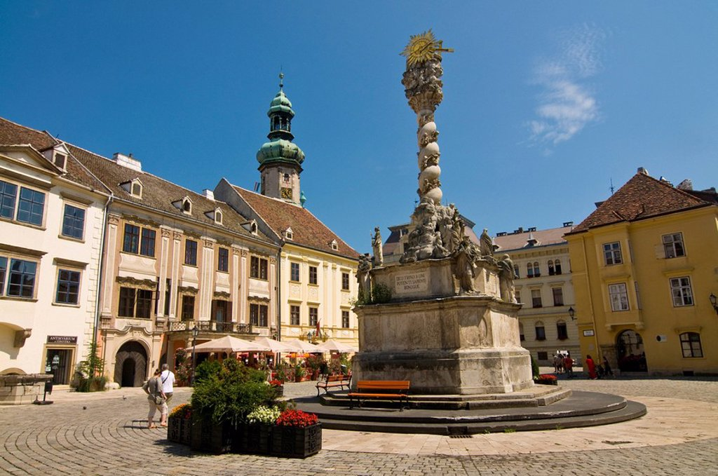 Holy Trinity column in the town of Sopron, Hungary, Europe : Stock Photo