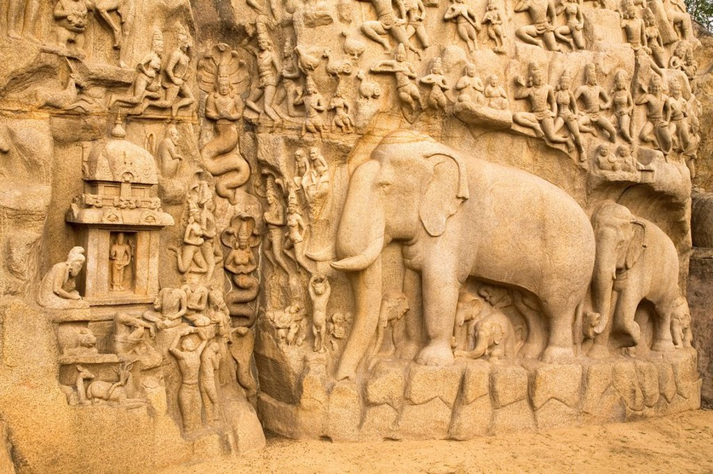 Stock Photo: 1890-108860 The famous bas relief panel popularly known as Arjuna´s Penance at Mahabalipuram Mamallapuram, UNESCO World Heritage Site, Tamil Nadu, India, Asia