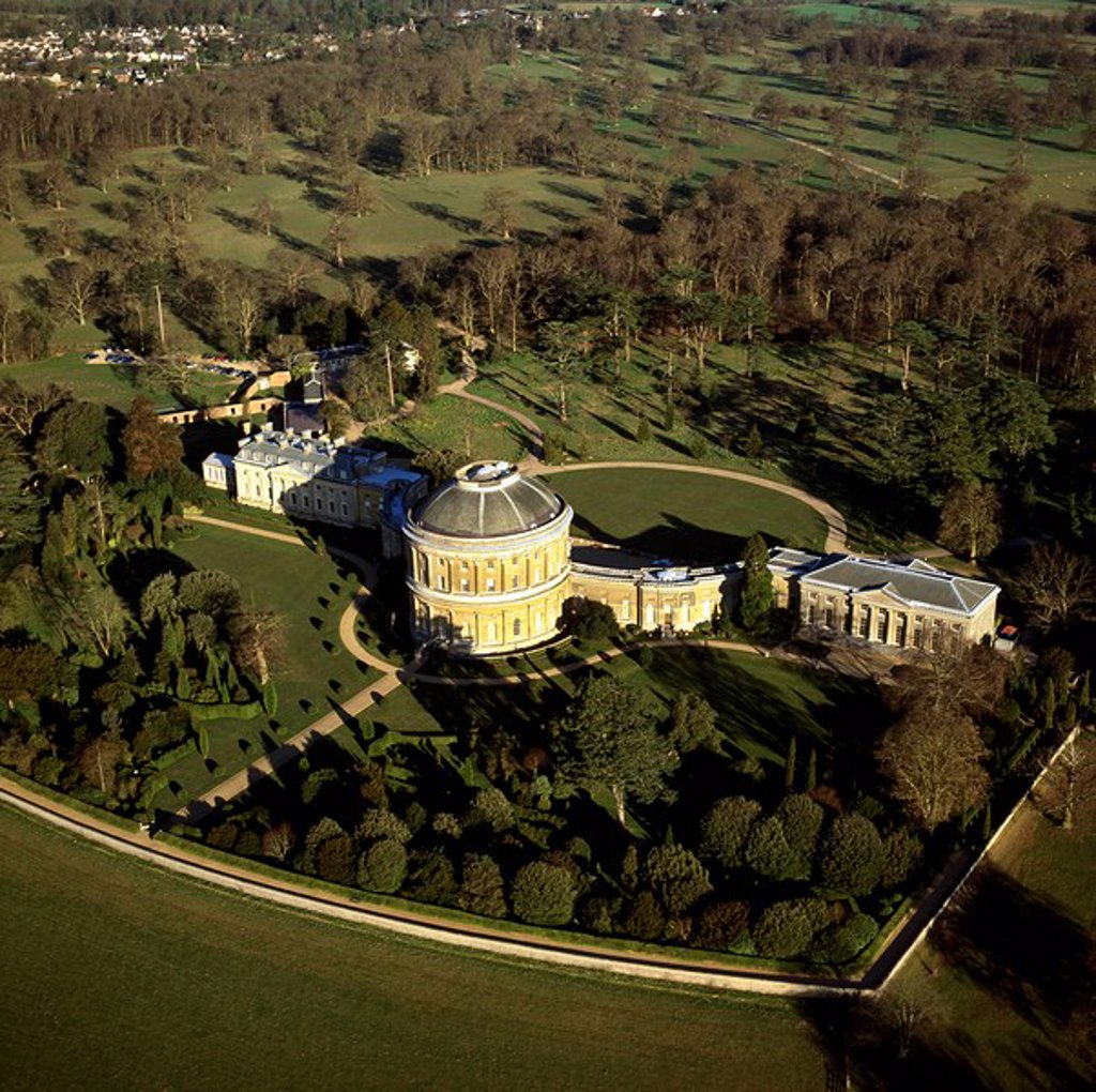 Stock Photo: 1890-108953 Aerial image of Ickworth House, a neoclassical country house in a park laid out by Capability Brown, near Bury St. Edmunds, Suffolk, England, United Kingdom, Europe