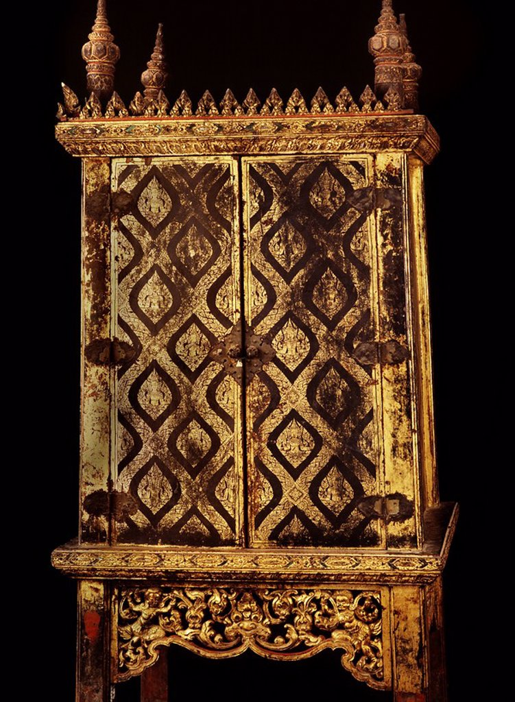 Stock Photo: 1890-109827 Lacquered manuscript cabinet dating from the reign of King Narai in the 17th century, Thailand, Southeast Asia, Asia