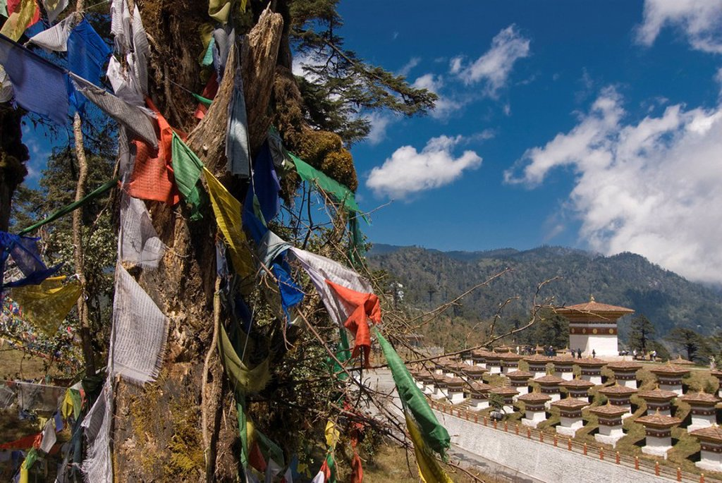 Stock Photo: 1890-109998 Prayer flags on the pass, Dochu La, Bhutan, Asia
