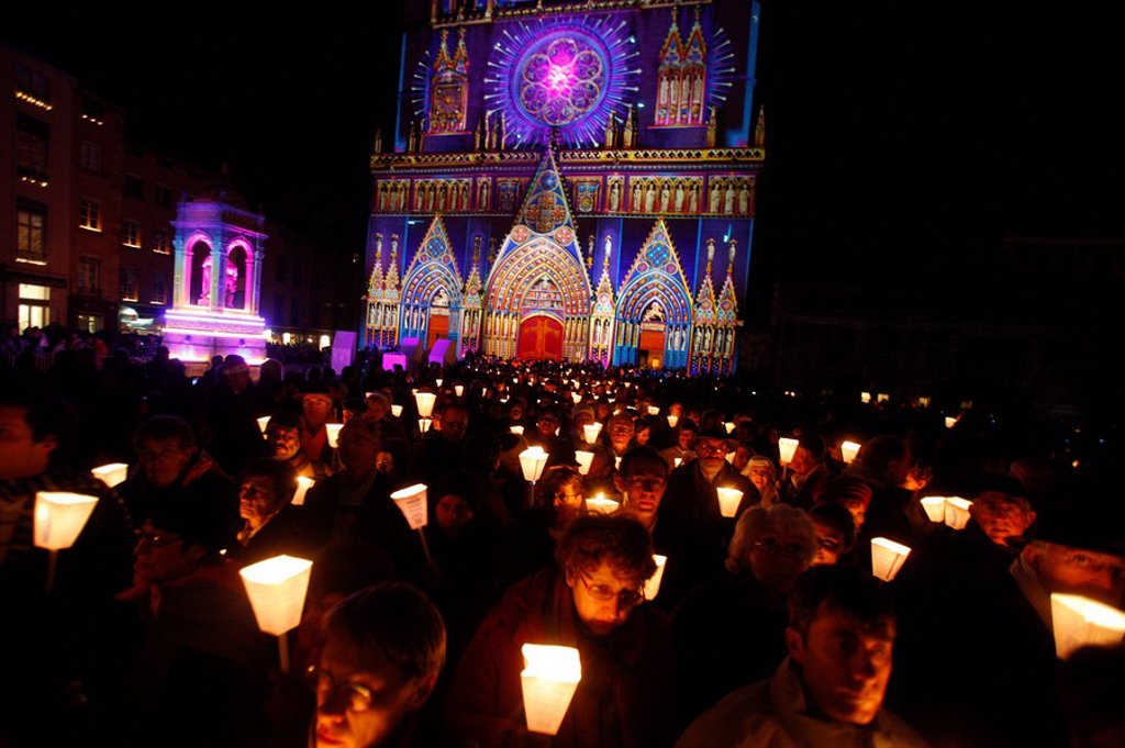 Light festival procession in Lyon, Rhone, France, Europe : Stock Photo
