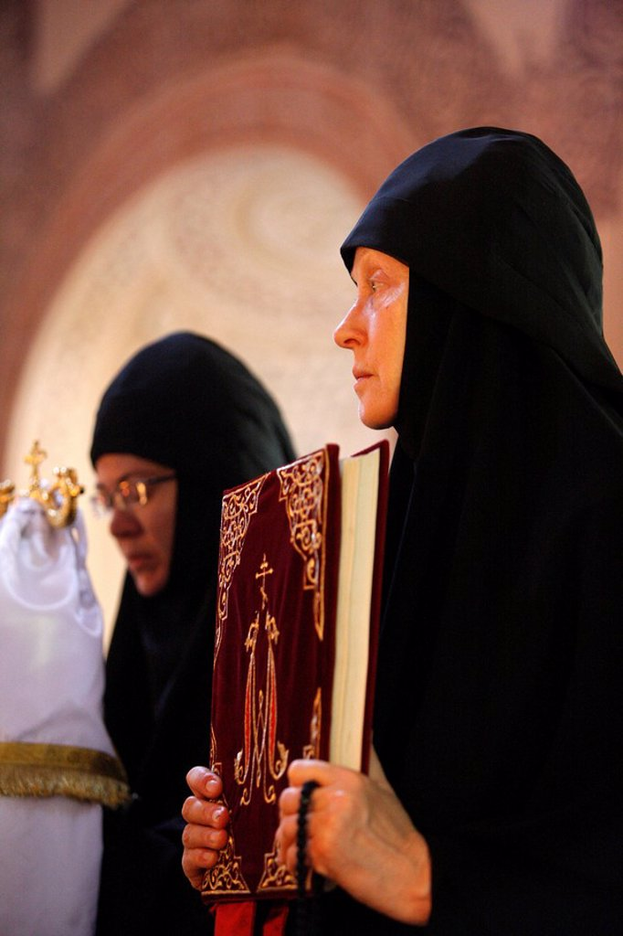 Nuns celebrating Mass in Mary Magdalene Russian Orthodox church on Mount of Olives, Jerusalem, Israel, Middle East : Stock Photo