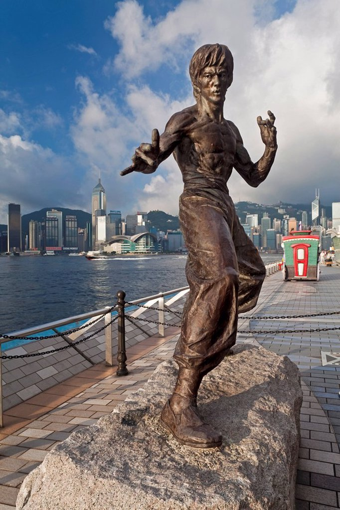 Stock Photo: 1890-110696 Kung Fu film star Bruce Lee statue, The Avenue of Stars, Tsim Sha Tsui, Kowloon, Hong Kong, China, Asia