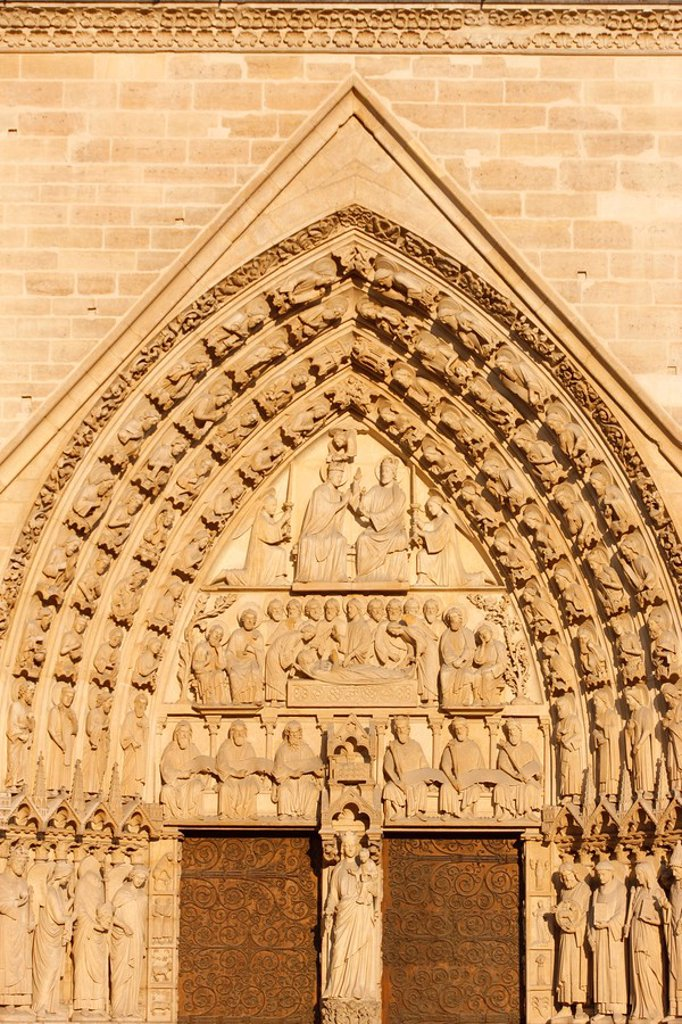 Stock Photo: 1890-110882 Virgin´s Gate tympanum, west front, Notre Dame Cathedral, UNESCO World Heritage Site, Paris, France, Europe