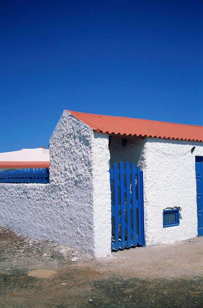 Stock Photo: 1890-11090 Detail of a coastal cottage, Calhau, Sao Vicente, Cape Verde Islands, Atlantic, Africa