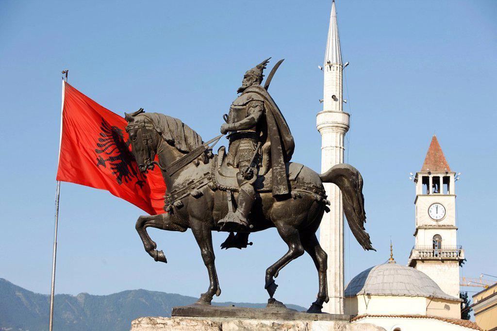 Skanderberg statue, Tirana, Albania, Europe : Stock Photo