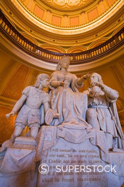 Stock Photo: 1890-111053 Statue of Queen Isabella and Columbus in the Rotunda of the State Capitol, Sacramento, California, United States of America, North America