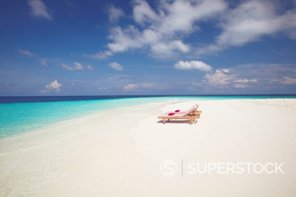 Stock Photo: 1890-111345 Two deck chairs on tropical beach ,Maldives, Indian Ocean, Asia