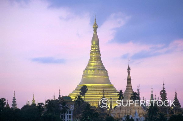 Stock Photo: 1890-112041 Shwe Dagon Pagoda Shwedagon Paya at dusk, Yangon Rangoon, Myanmar Burma, Asia