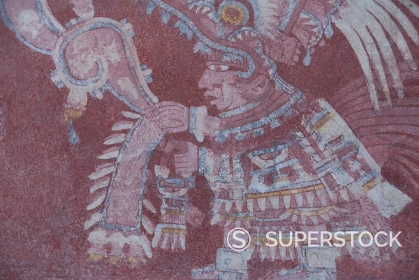 The most famous fresco at Teotihuacan, showing the Rain God Tlaloc being attended to by priest, Palace of Tepantitla, Archaeological Zone of Teotihuacan, UNESCO World Heritage Site, Mexico, North America : Stock Photo