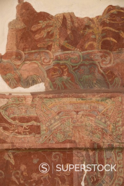 Detail of the most famous fresco at Teotihuacan, showing the Rain God Tlaloc being attended to by priest, Palace of Tepantitla, Archaeological Zone of Teotihuacan, UNESCO World Heritage Site, Mexico, North America : Stock Photo