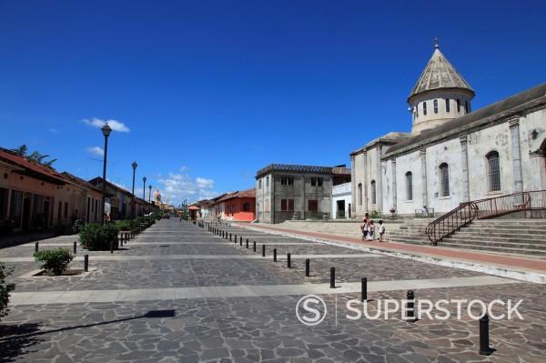 Calle La Calzada, Granada, Nicaragua, Central America : Stock Photo