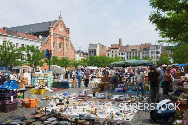 Stock Photo: 1890-112457 Place du Jeu de Balle flea market, Brussels, Belgium, Europe