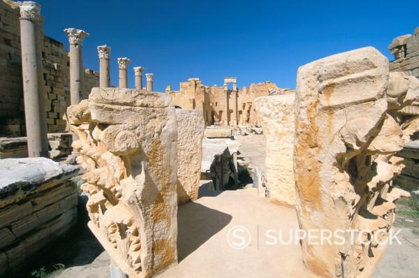 Stock Photo: 1890-112872 Severan Basilica, Leptis Magna, UNESCO World Heritage Site, Tripolitania, Libya, North Africa, Africa