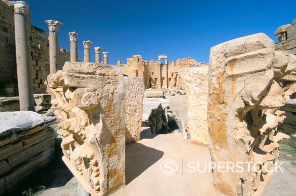 Severan Basilica, Leptis Magna, UNESCO World Heritage Site, Tripolitania, Libya, North Africa, Africa : Stock Photo